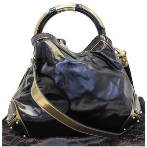 GUCCI INDY BABOUSKA LEATHER TOP HANDLE